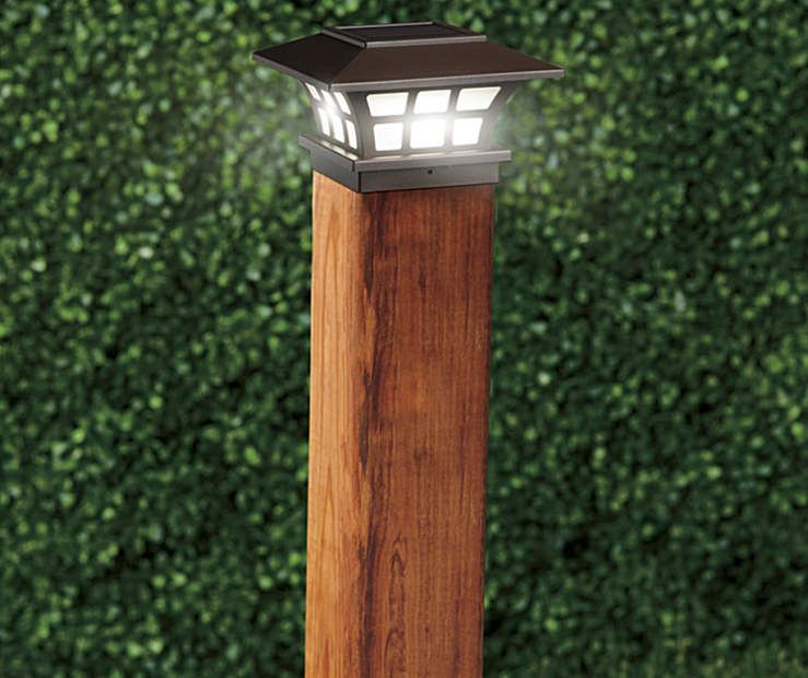 Wilson Fisher Led Solar 2 Piece Fence Post Light Set Big Lots Solar Fence Lights Post Lights Outdoor Post Lights