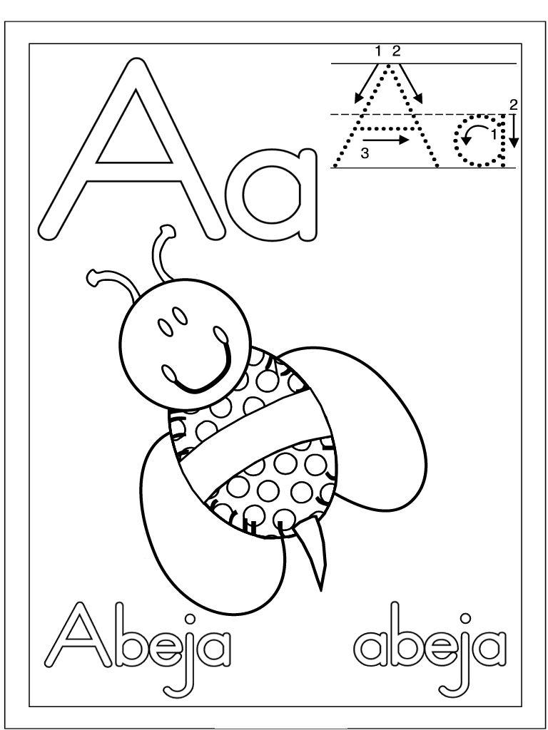 Letra A Abeja Dibujalia Dibujos Para Colorear Numeros