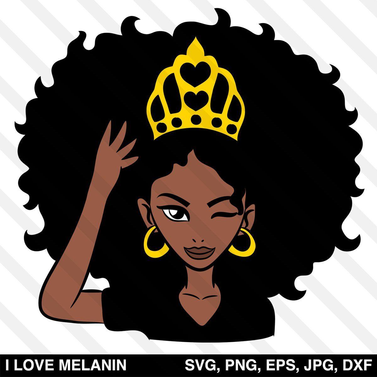 Black Queen Crown Woman Svg Black Girl Magic Art Black Girl Art Afro Girl