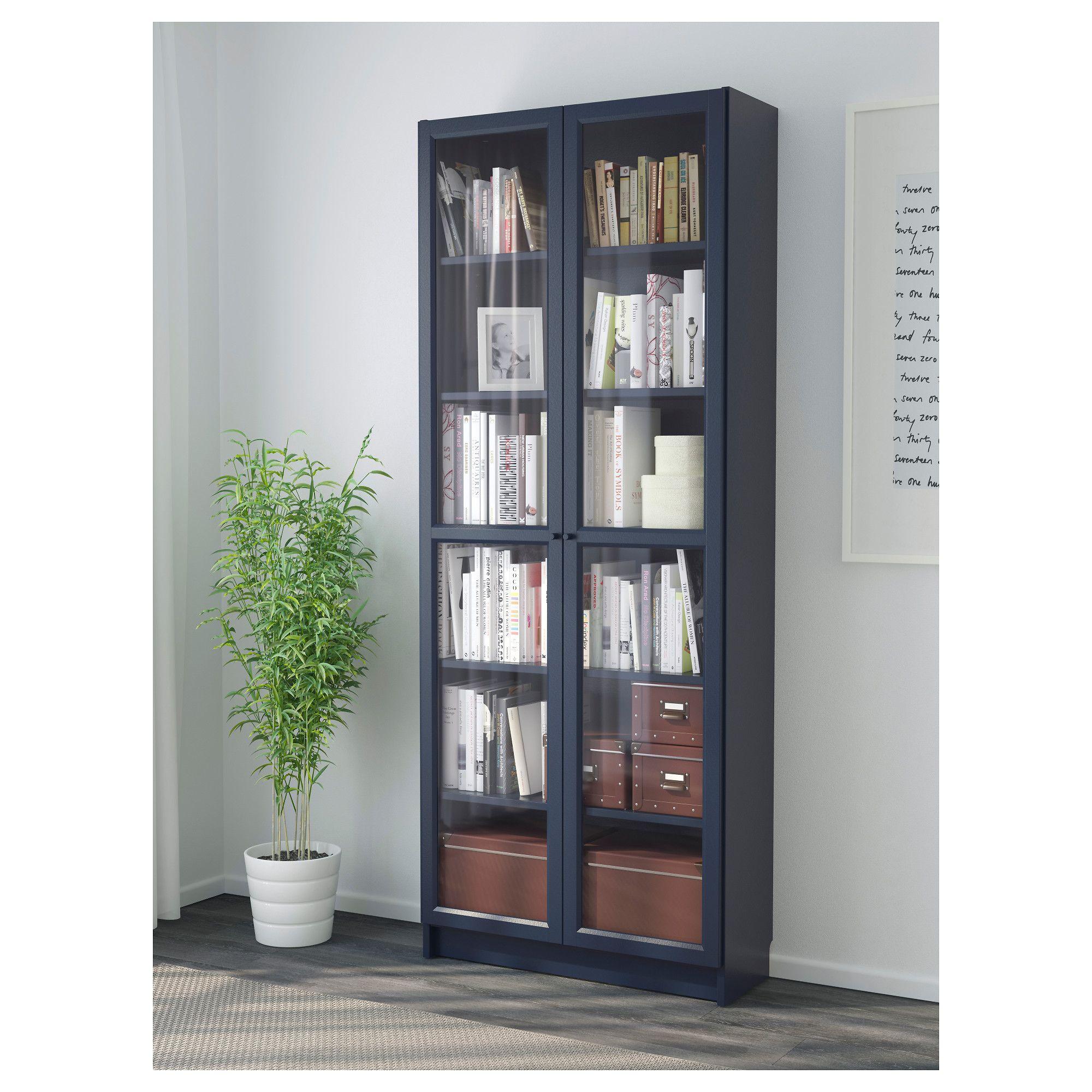 Billy Bookcase With Glass Doors Dark Blue 80x30x202 Cm Ikea  # Muebles Billy Ikea