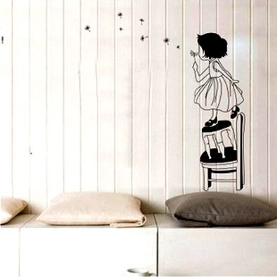 girl wall sticker - cute )  Color combinations  Pinterest