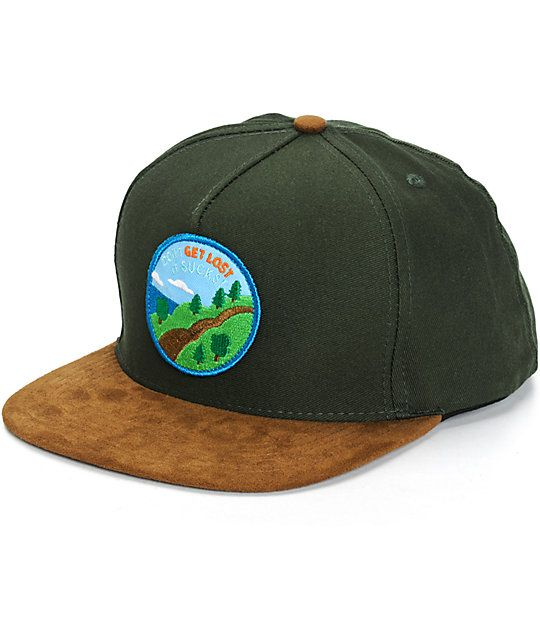 a6b6de13 Get a fresh two tone style perfect for hitting the outdoors in with a Don't  Get Lost It Sucks scenic forest patch at the front of a green crown with a  brown ...