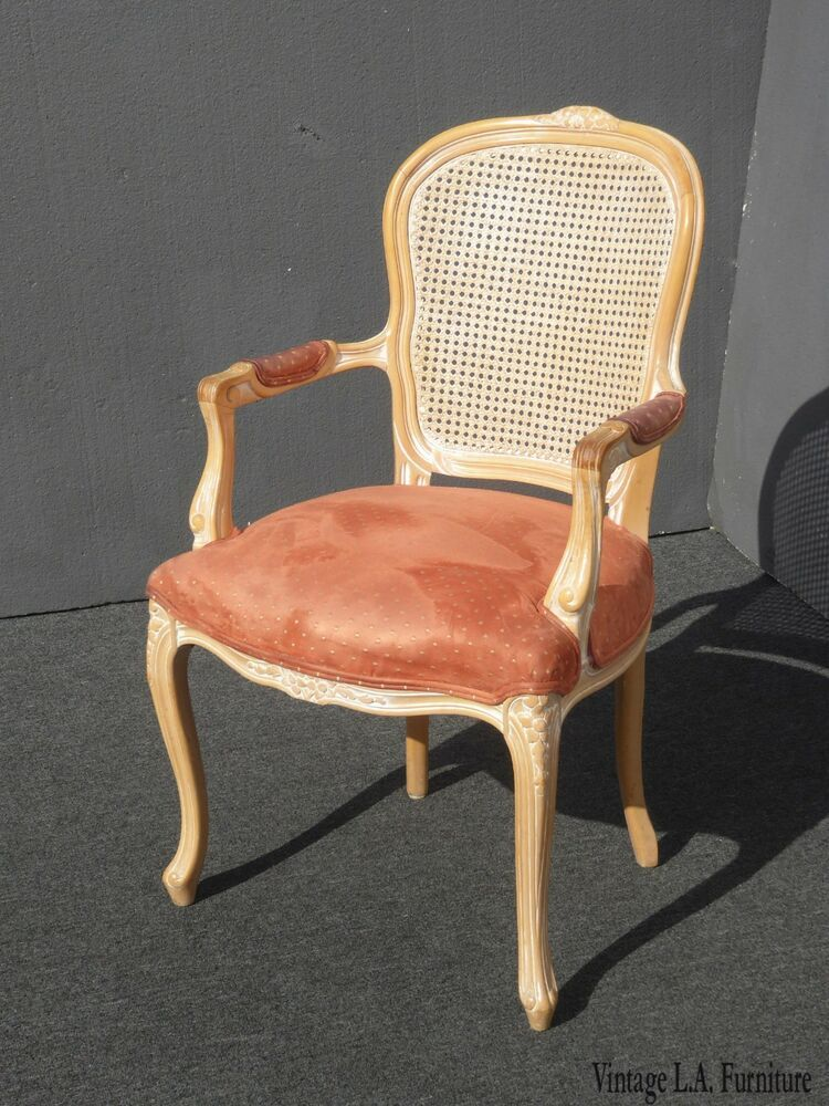 Incredible Vintage French Provincial Cane Back Off White Accent Chair Evergreenethics Interior Chair Design Evergreenethicsorg