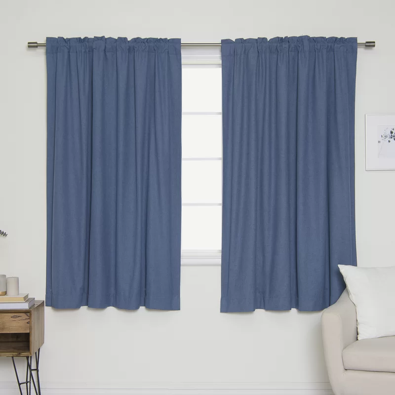 Veta Solid Color Room Darkening Thermal Tab Top Curtain
