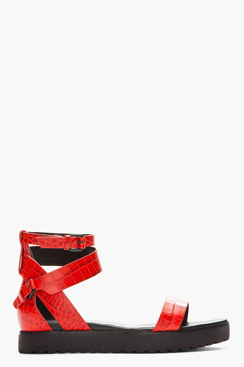 20dcd877d Alexander Wang Red Crocodile Embossed Jade Flat Sandals - Alexander Wang Red  Crocodile Embossed Jade Flat Sandals Alexander Wang Leather sandals in red.