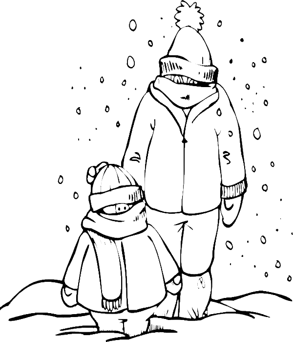 Two Men Dressed In Thick Snow Day Coloring Pages Winter Coloring