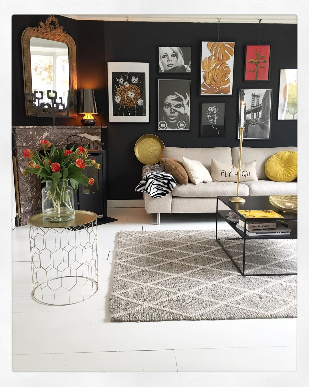 Dark Walls With A Bright Gallery Wall Cream Sofa And Indust