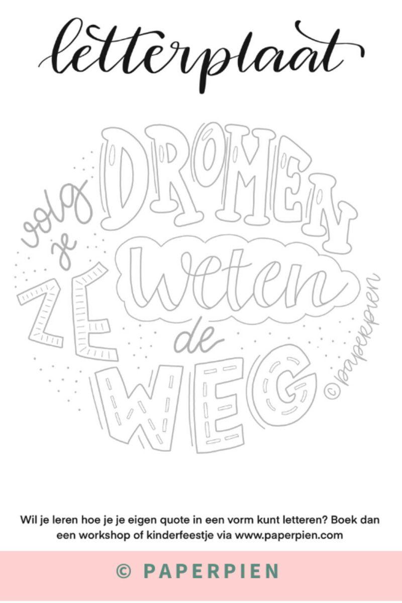 Kleurplaat Voor Volwassenen Handletteren Beginners Nederlandse Motiveren Quote Kleurplaten Voor Volwassenen Handlettering Gepersonaliseerde Cadeaus