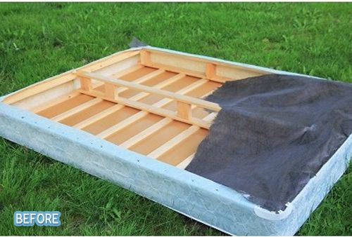 Never Thought Of Using The Wood From An Old Box Spring Spring Diy Box Spring Bed Renter Hacks