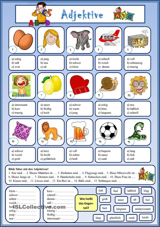 Adjektive | Adjektive, Deutsch und Lernen