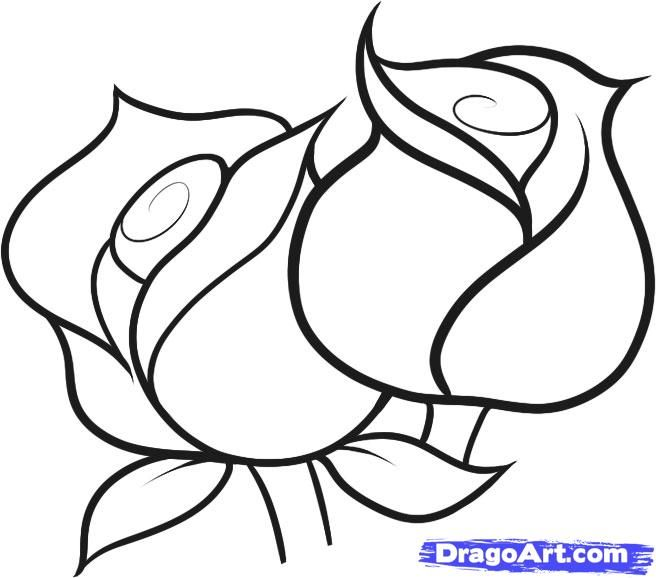 how to draw roses for kids step by step flowers for kids for - Images Of Drawings For Kids