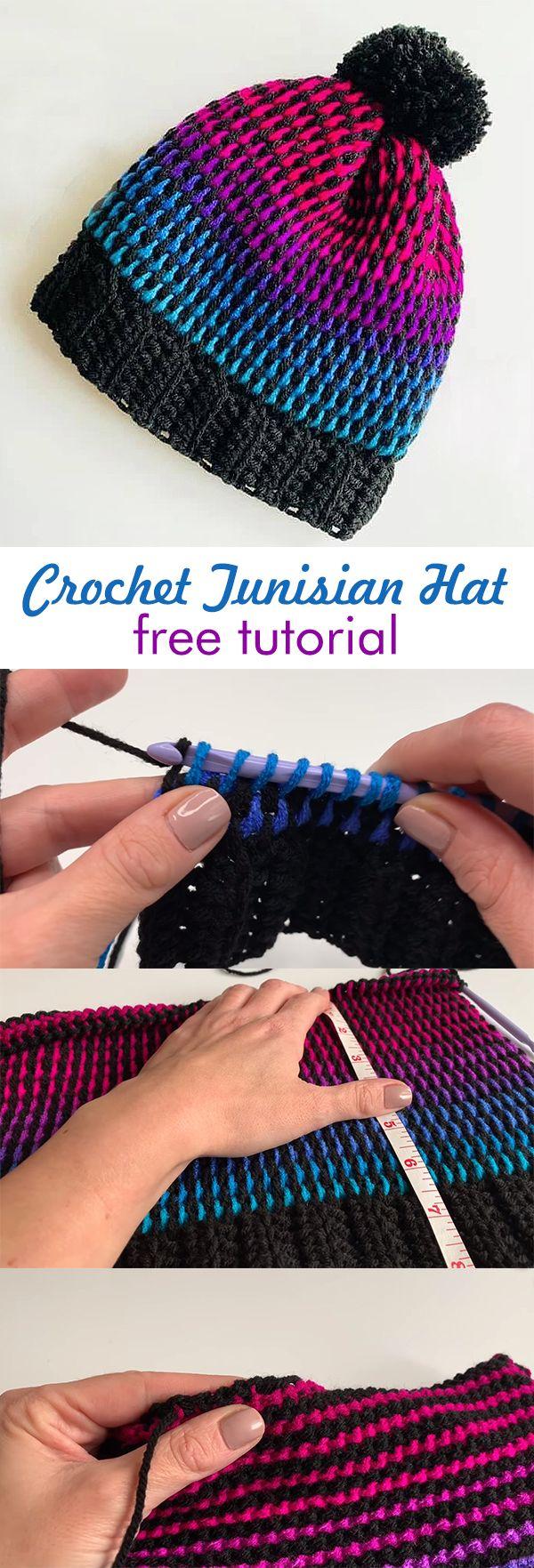 Crochet Tunisian Hat #tunisiancrochet