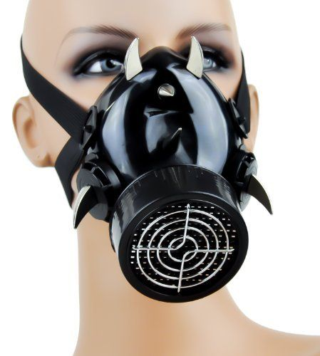 Dysfunctional Doll Devil Horn Industrial Spike Gas Mask Single Respirator : Respirators & Gas Masks