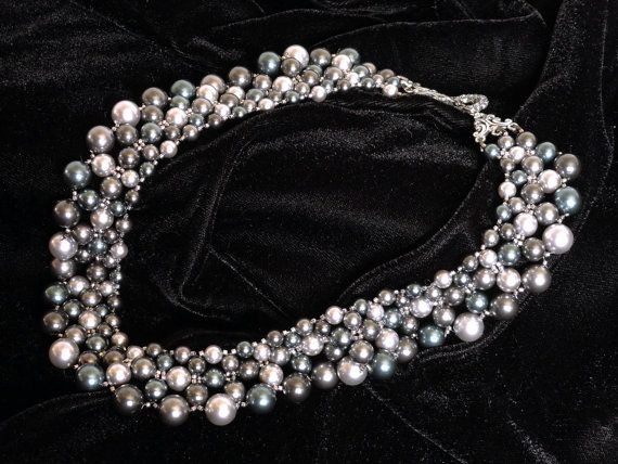 Stormy Night Pearl Collar by PiecesByPatriceMN on Etsy