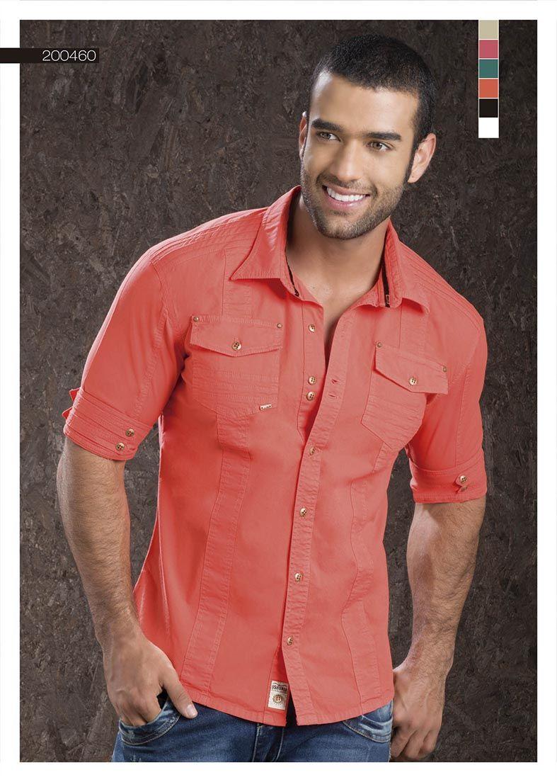 666798a9dc Camisa-para-hombre-color-naranja-manga-tres-cuartos-orange-shirt-for-men-  three-quarter-sleeves