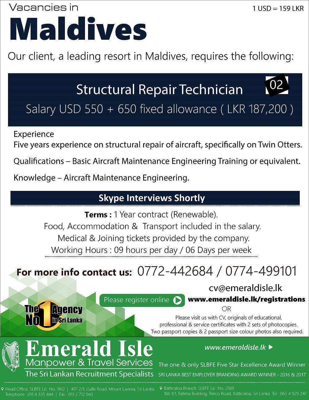 Emerald Isle Recruitment Specialist Maldives resort