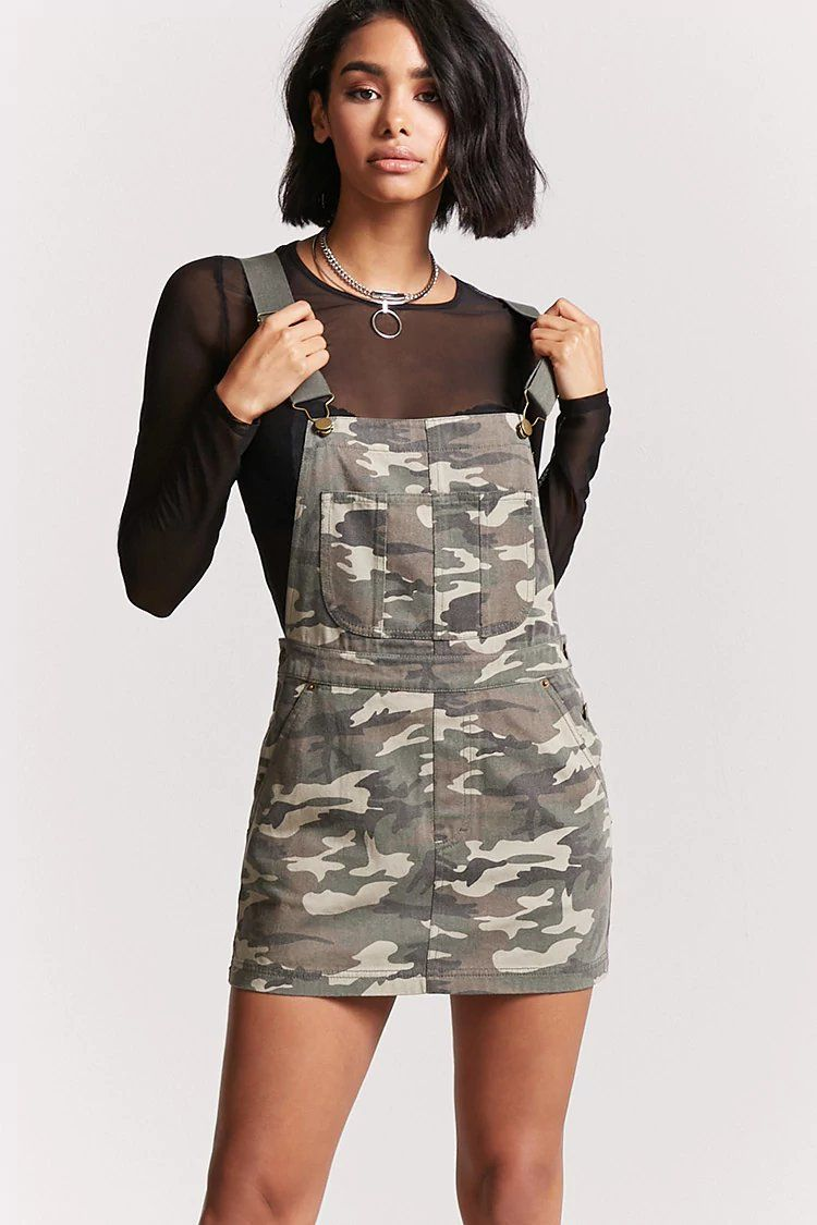 7df9f9bca0c06 Camo Overall Dress | Forever 21 Dungaree Dress, Jumper Dress, Overall Dress,  Overalls