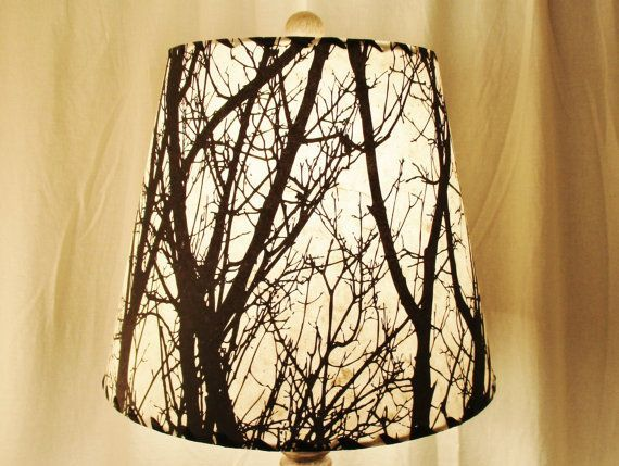 Tree Silhouette Drum Lamp Shade Black And White Silk Screened Lokta Paper Shade White Lamp Shade Lamp Shade Shabby Chic Lamp Shades