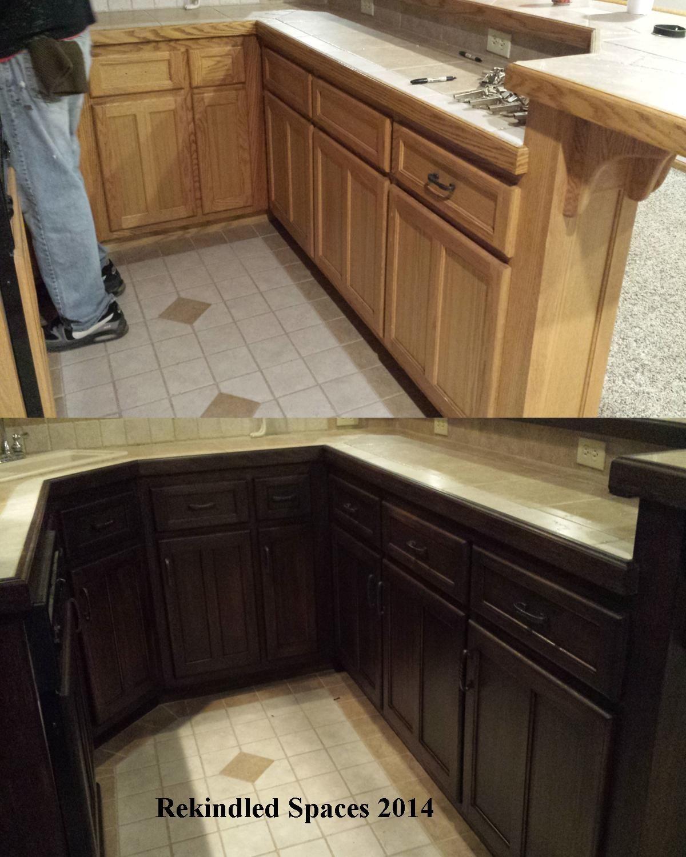 Golden Oak Kitchen Cabinets: Golden Oak Re-stained To Dark Walnut