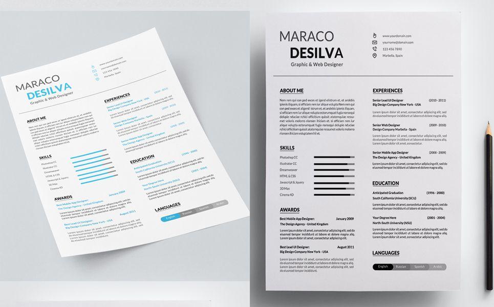 Maraco Desilva Graphic / Web Designer Resume Template