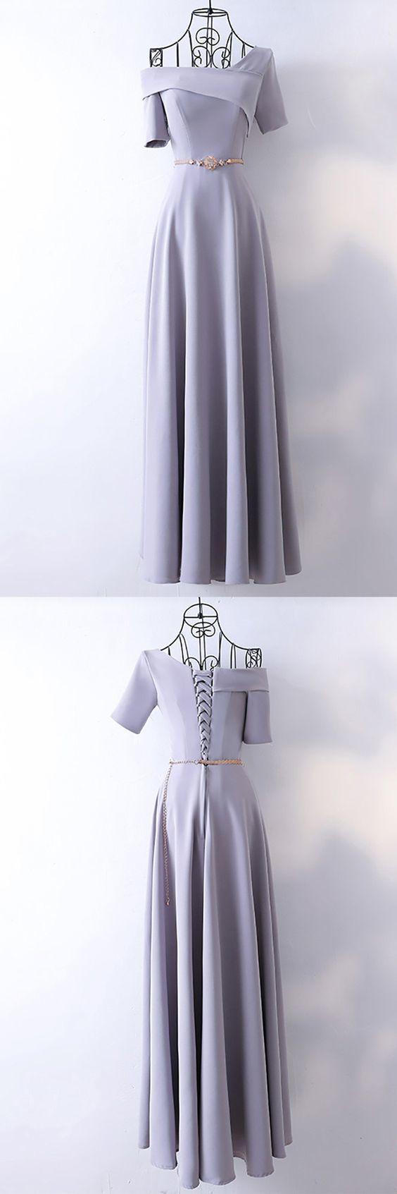 classy long grey formal evening dress with asymmetrical