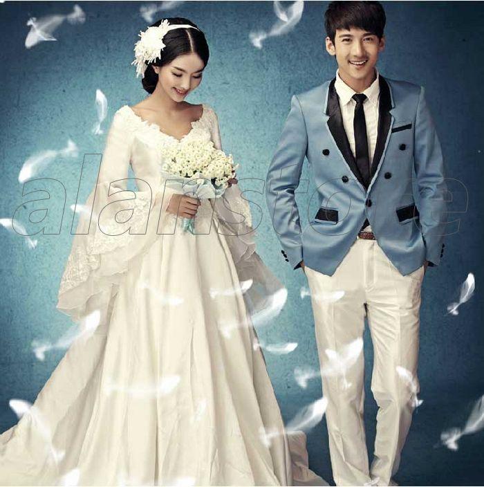 Korea Style Princess Style Bride Wedding Dress, Long Sleeves and Hem ...