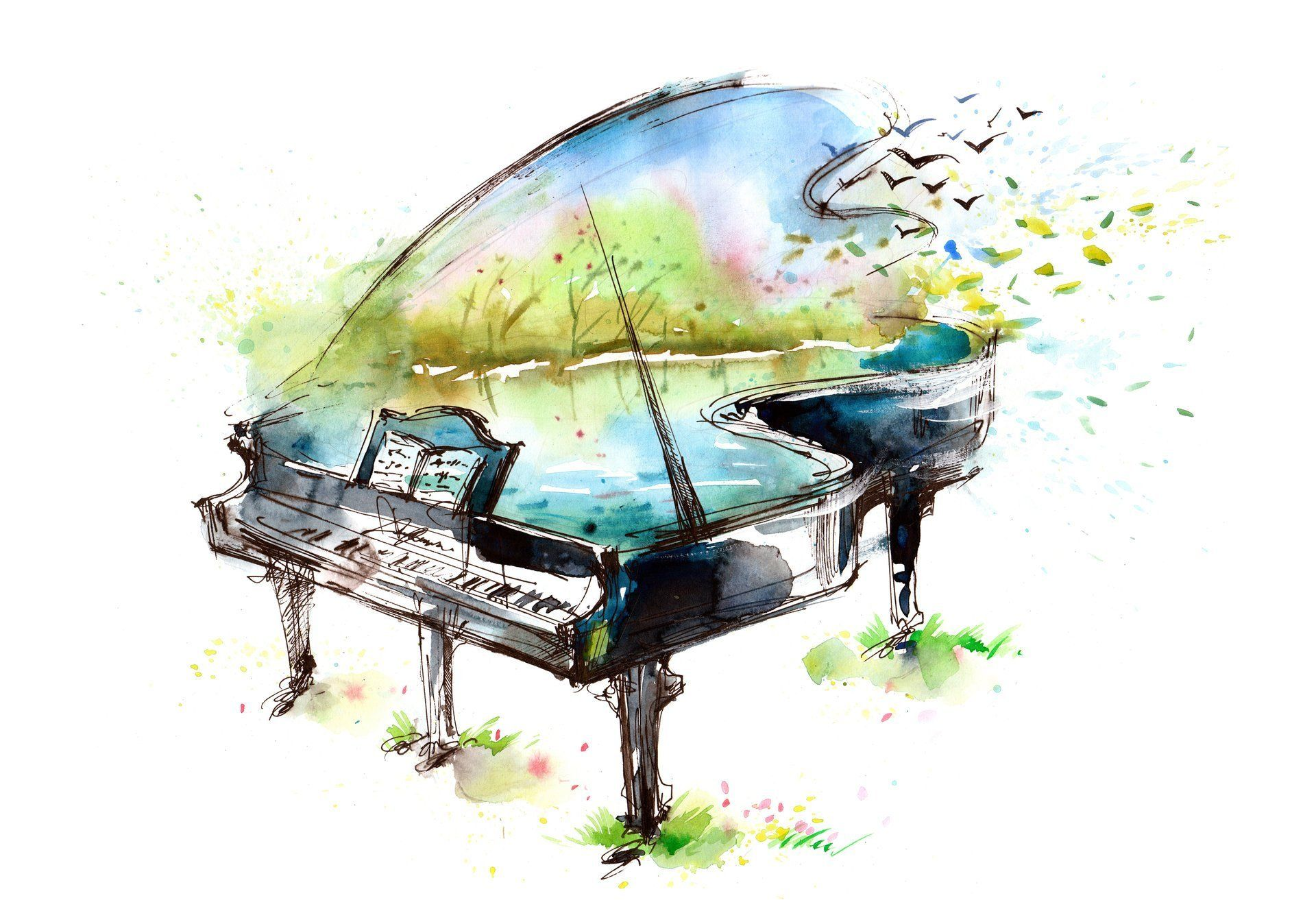 Art Piano Notes Birds Lake Picture Watercolor Hd Wallpaper Art