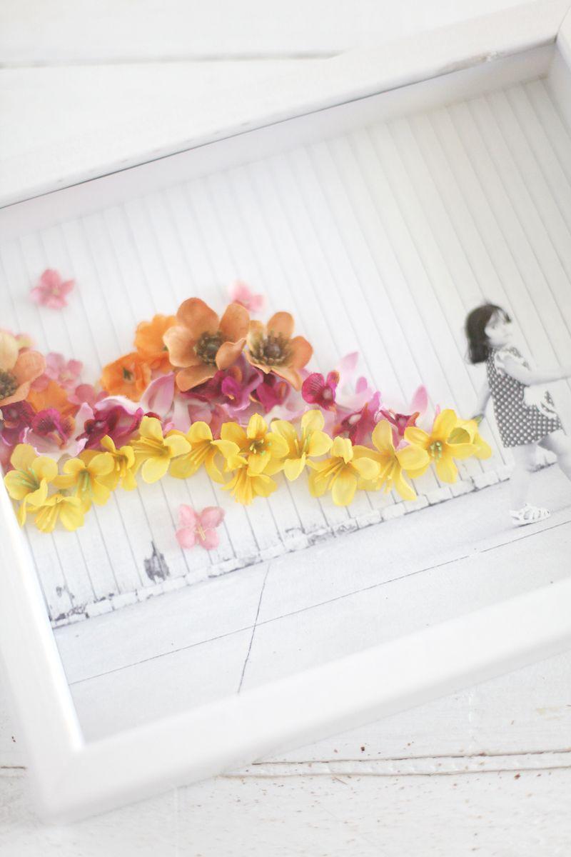 Flower embellished photo  kids  Pinterest  Artificial flowers