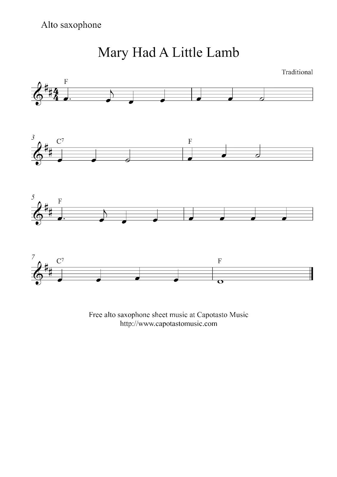 Mary Had A Little Lamb Sheet Music For Alto Sax Free Easy Alto