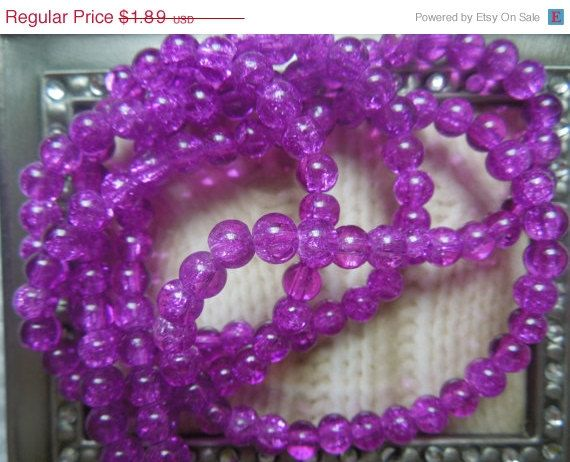 SALE 70 Beads Crackle Glass Purple Color 6mm by IvanasGiftsNThings, $1.80