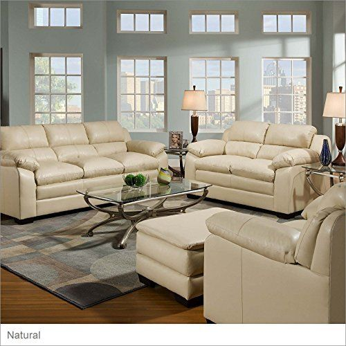 Simmons Upholstery 5066 Soho Bonded Leather Sofa Natural Leather