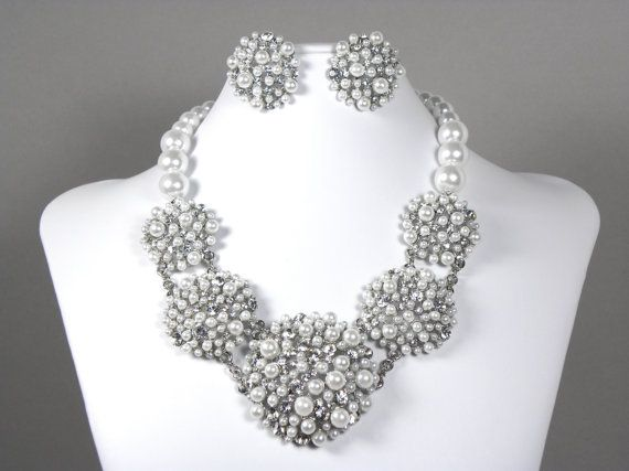 Wedding Jewelry Set, Pearl Bridal Statement Necklace, Back Drop ...