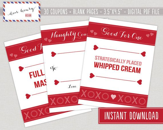 romantic and naughty printable love coupons for him valentine giftsvalentine - Naughty Valentines Gifts