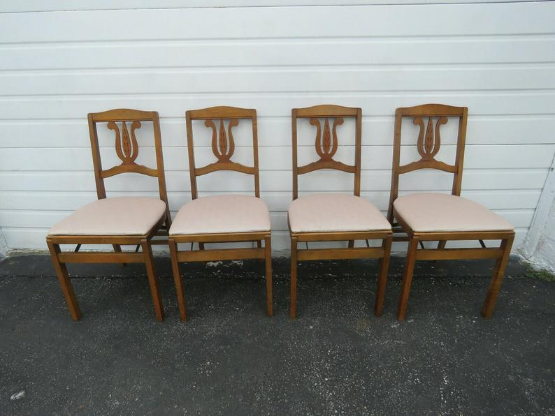 Swell Solid Maple Set Of Four Folding Dining Dinette Chairs By Creativecarmelina Interior Chair Design Creativecarmelinacom