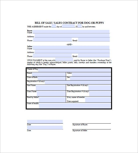 Dog Bill Of Sale Template   Free Word Excel Pdf Format Download
