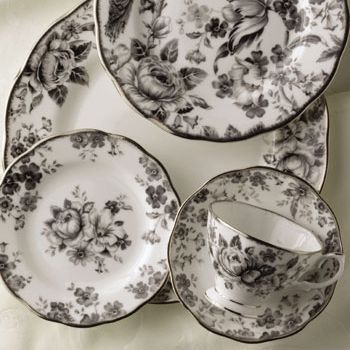 Black Floral Victorian Dishware Set Black And White Dishes