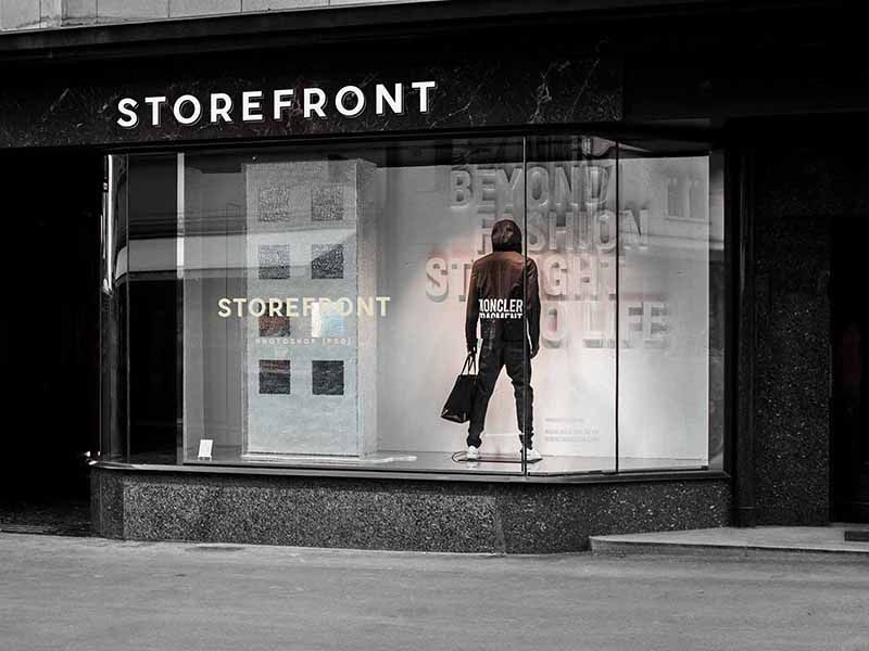 Fashion Storefront Mockup Store Fronts Shopping Outfit Mockup