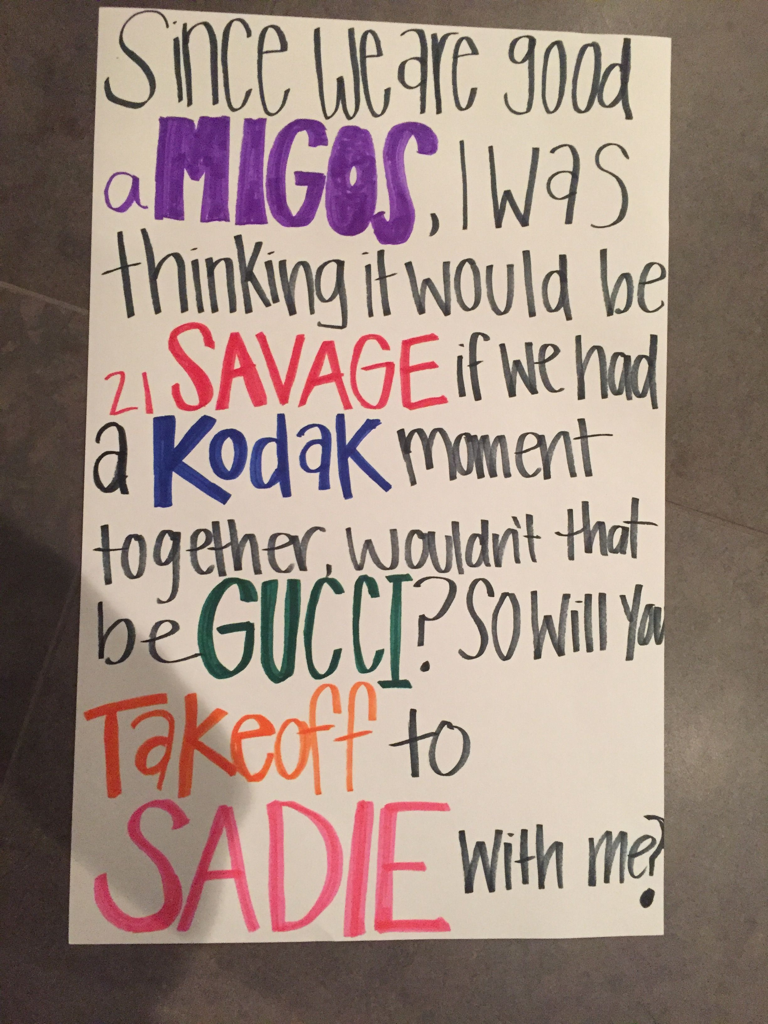 Rapper names sadie hawkins ask idea tips n trix for Things to ask when building a house