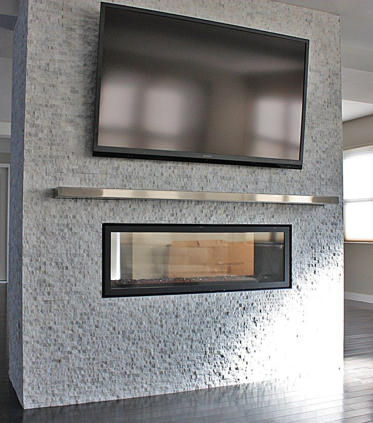 Interior Silver Steel Mantel Shelf Under Rectangle Black Led Tv On Grey Stone Fireplace With