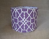Lamp Shade Drum Lampshade made with Waverly Geometric Lattice Network in Plum and Ivory