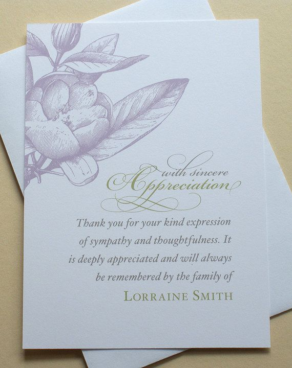 Custom Order Condolence Thank You Cards With A Purple Flower