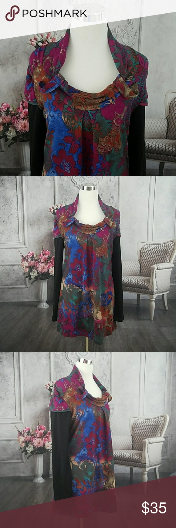 9ff54c164bc Sacred Threads Black Pink Tunic Top Size Med Brand: Sacred Threads Size:  Medium Condition