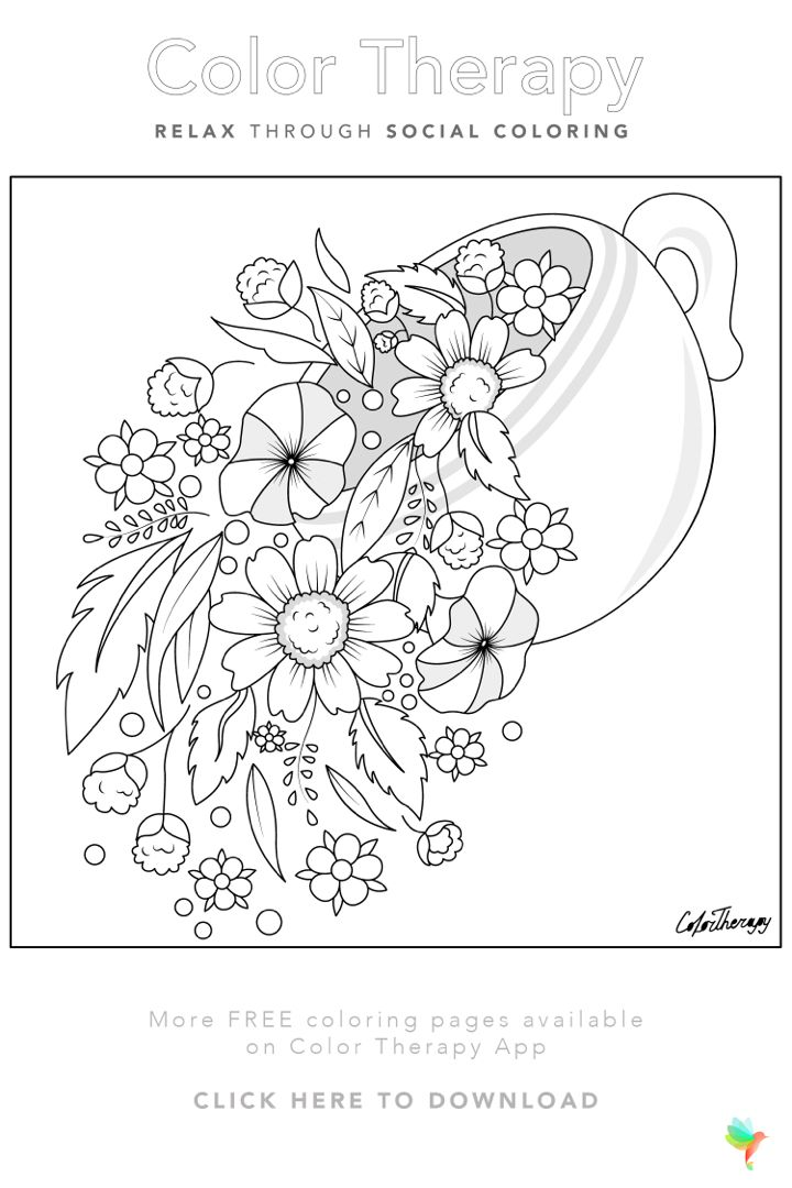 Color Therapy Gift Of The Day Free Coloring Template In 2020 Color Therapy Flower Coloring Pages Coloring Book Art