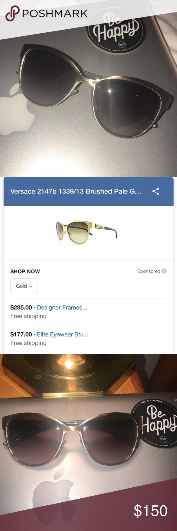 27b97e6003 Gold Versace Sunglasses Authentic. Excellent condition. No scratches. No  case. 🌸 Color  Brushed pale gold Versace Accessories Sunglasses