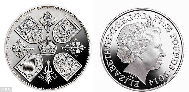 Symbolic: The coin features royal arms and a rose, thistle, leek, sprig of shamrock and a crown  ~~ New commemorative coin released by the Royal Mint celebrating Prince George's first birthday.