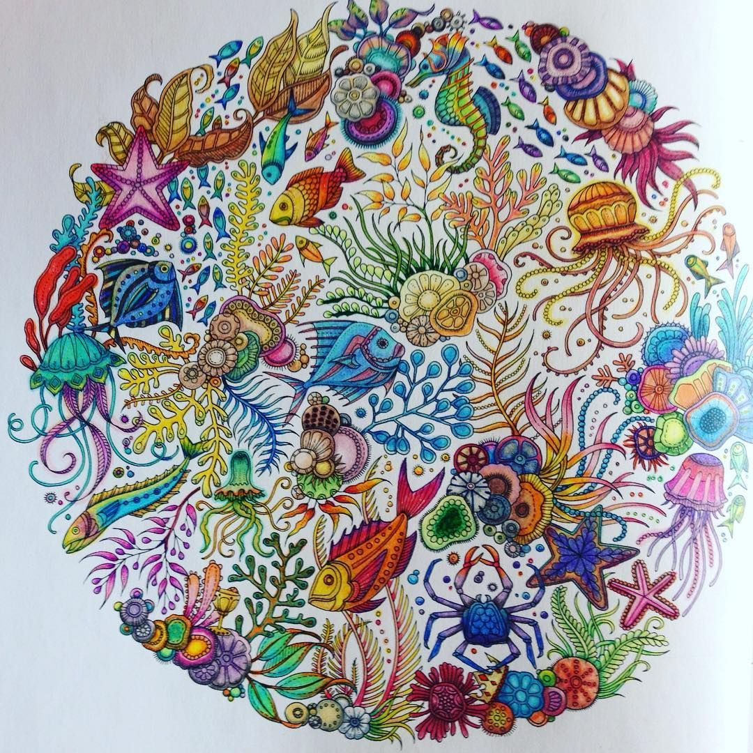 Some colouring I did a while ago #stillcolouring #lostocean #johannabasford #fishies #underthesea #colouring #pencilcrayons #crayola #prismacolor #adultcoloringbook