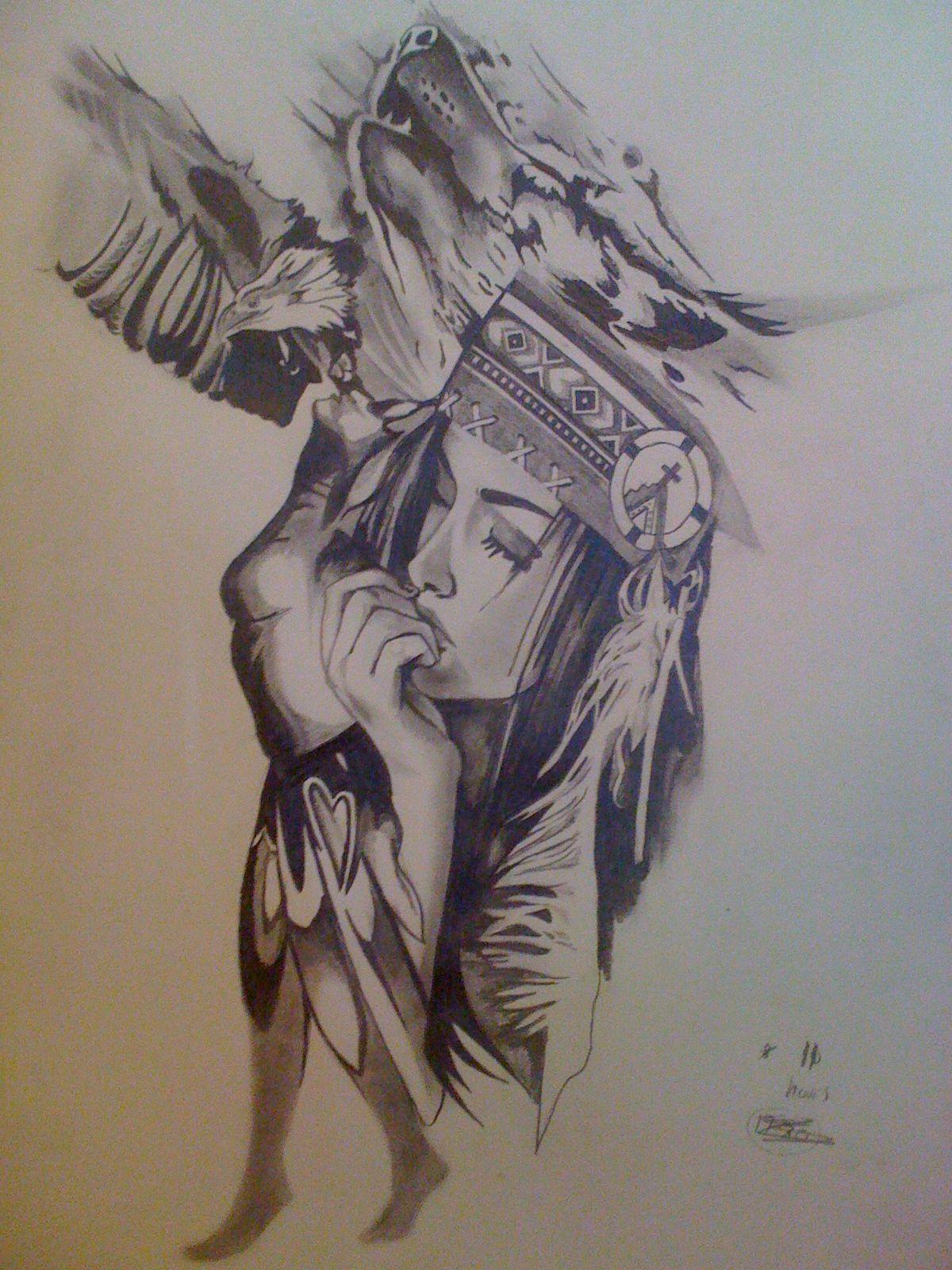 Pin eulen tattoo bedeutungen f on pinterest - Zeichnungen Indianer Tattoo