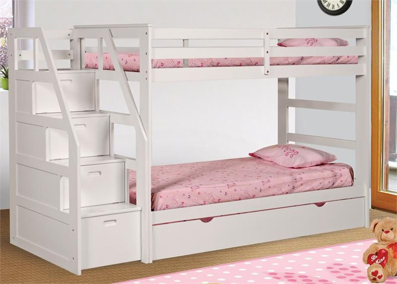 Dillon White Twin Bunk Bed With Storage Stairs Bunk Bed With