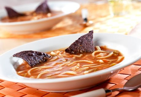 Worm Soup with Bat Wings Recipe... This quick-cooking, great tasting soup is fun on Halloween or any day... the worms are really just noodles!
