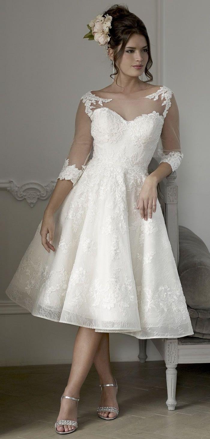 Veromia tea length wedding dress short wedding dresses pinterest
